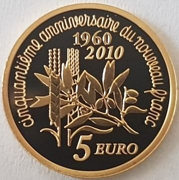 France - 5 Euro - 2010 'The Sower' - with original Box and Certificate - Gold