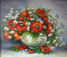 Malgorzata Lacka - Still Life With Red Poppies And White Daisies