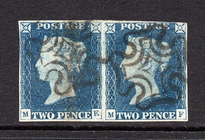 Great Britain 1840 - QV 2d Blue Plate 1 Horizontal Pair with Black MX  Cancels - Stanley Gibbons SG5 - Catawiki