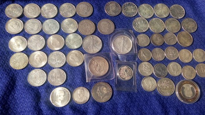 Welt - Lot various coins (54 pieces)  - Silber