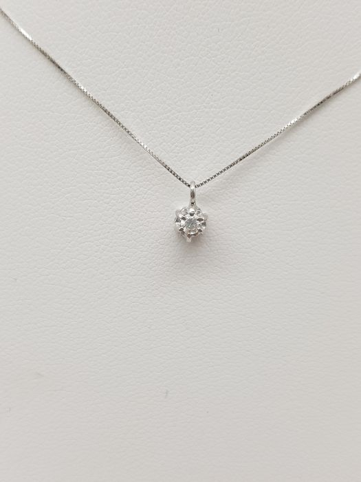18 quilates Oro, Oro blanco - Collar, Collar con colgante - 0.02 ct Diamante