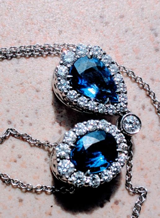 Other - 18 kt. White gold - Necklace Sapphire