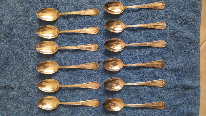 Eugenio Stancampiano _ Di Cristofalo - Set 12 coffee spoons - Set 6 teaspoons for ice cream (18) - .800 silver
