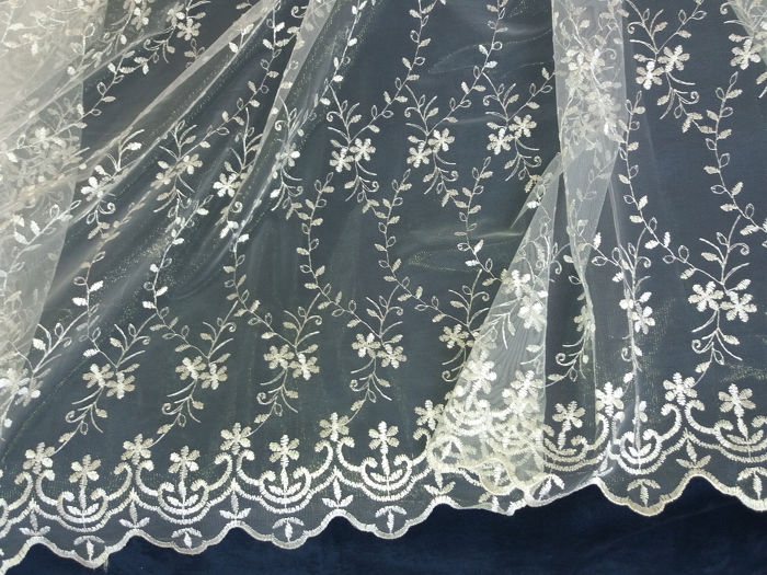 Precious remnant of tulle and lace, delicate cream and cream, - tulle-lace-cream shiny for sale