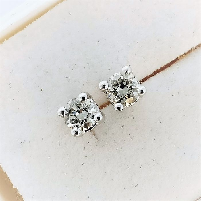 18 kt. White gold - Earrings - 0.38 ct Diamond