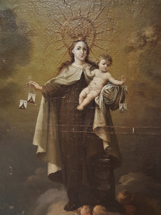 Madonna del Carmen., Painting - Baroque - Oil on canvas. - Late 19th century