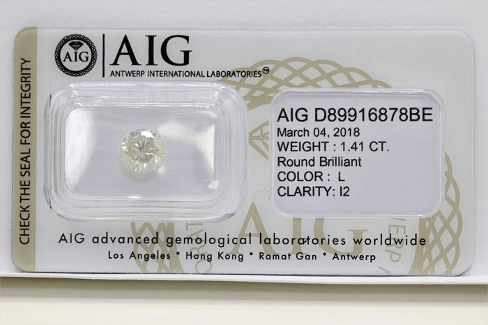 Diamante - 1.41 ct - Brillante - L - P2 - * NO RESERVE PRICE *