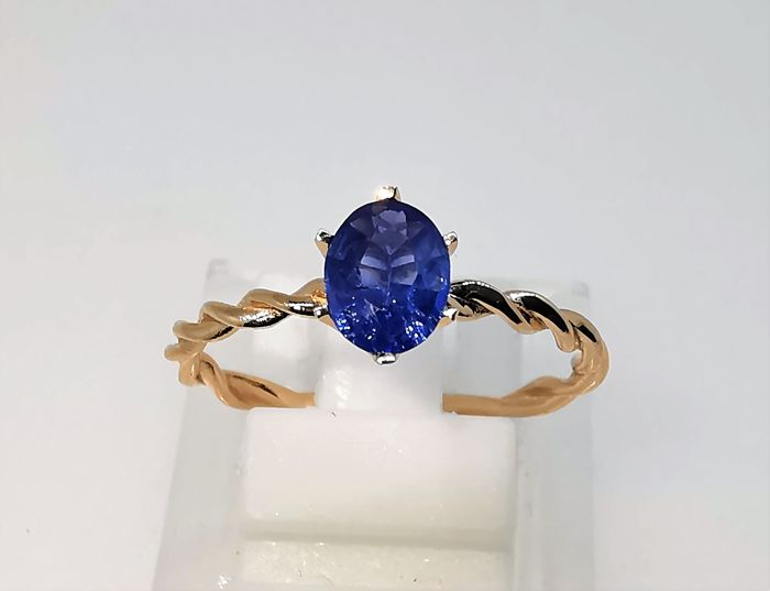 18 kt. Pink gold - Ring - 1.23 ct Sapphire