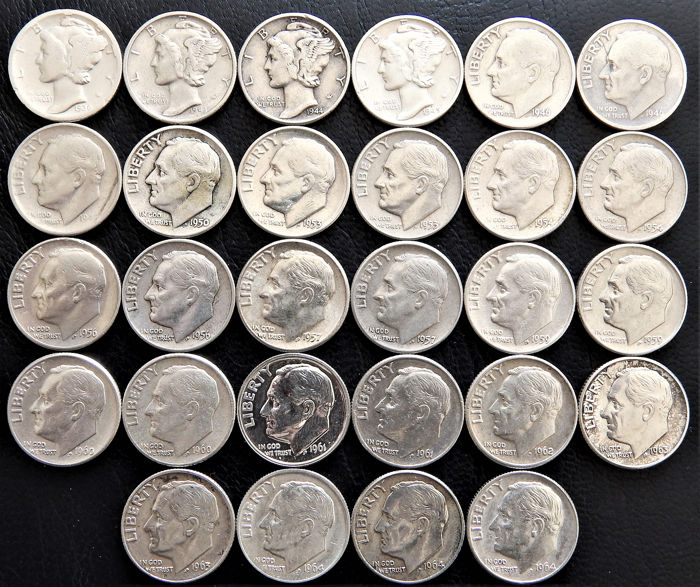United States - 28 x One Dime 1936 to 1964 - Silver - Catawiki