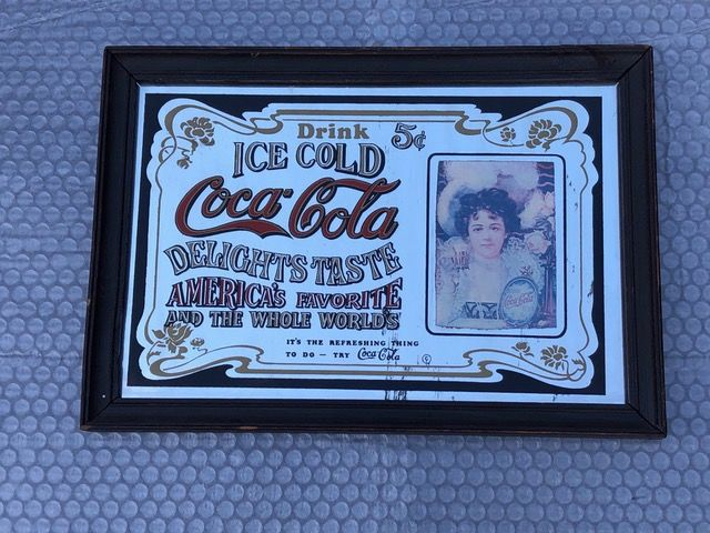 advertising mirror COCA COLA - Glass, Wood Curio Advertising & Enamel Signs for sale