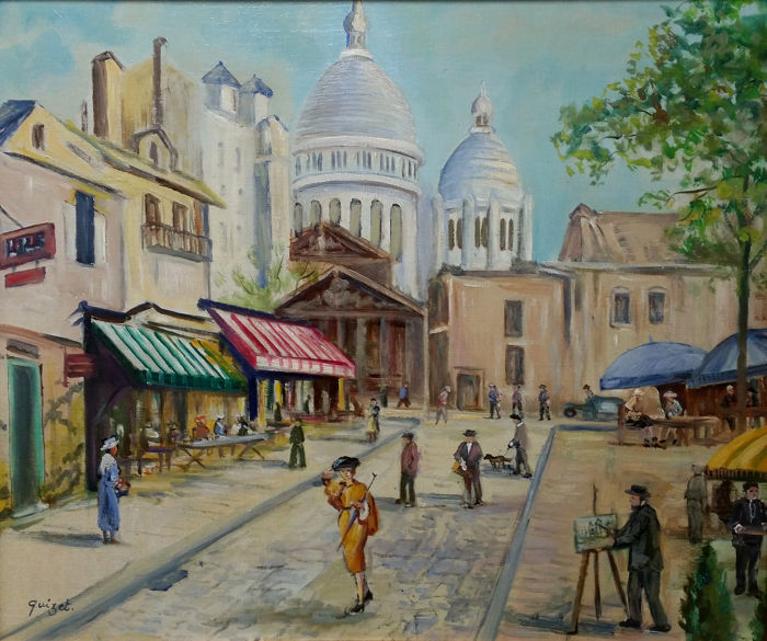 Alphonse Quizet - View of Montmatre at the famous Place du Tertre