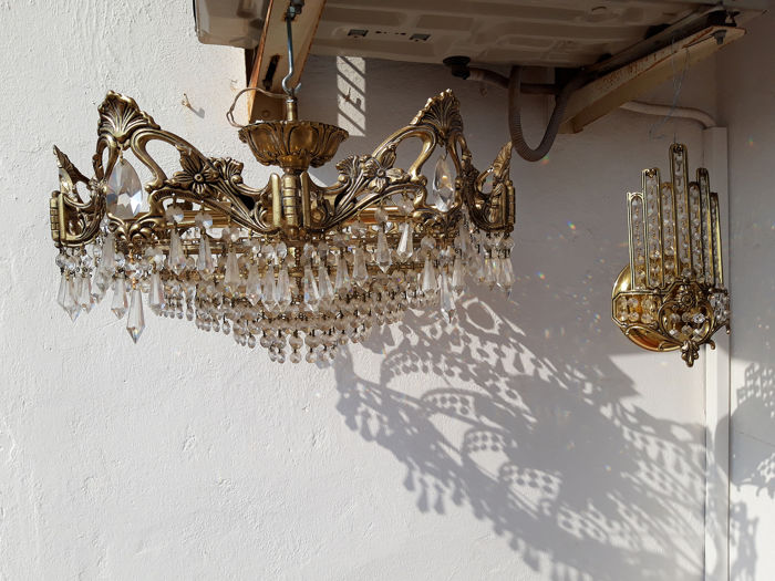 Applique Murale Lustre Suspension 2 Bronze Cristal Catawiki