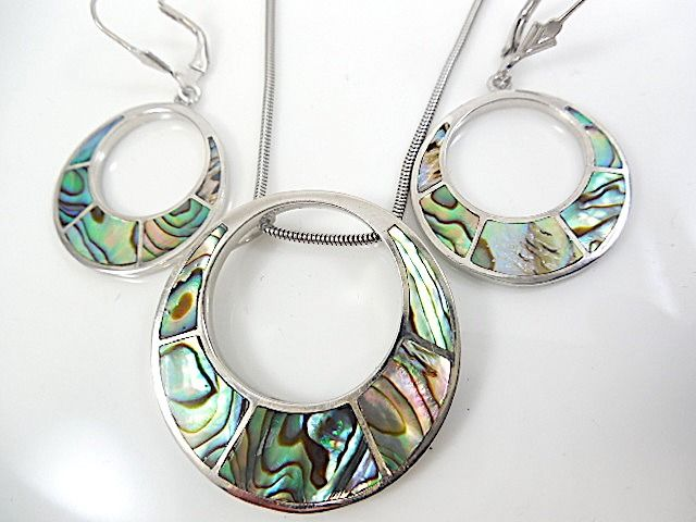 925 Silver - Earrings, Necklace with pendant