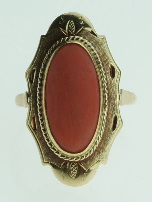 Vintage - 14 kt. Yellow gold - Ring Blood coral