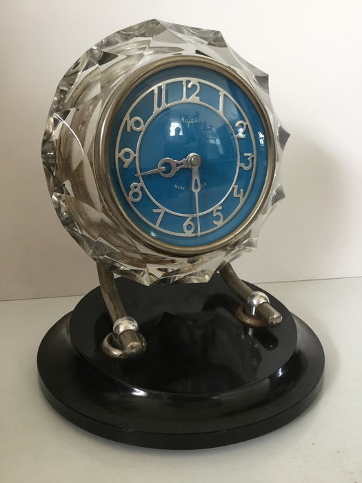 "Rare Art Deco Russian table clock - ""Majak, Made in USSR"" - 1950 - Bakelite, Crystal, Glass"