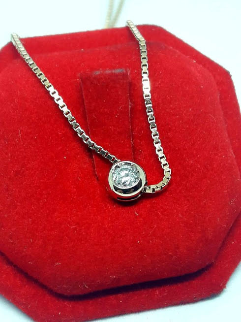18 kt. Yellow gold - Necklace with pendant - 0.18 ct Diamond