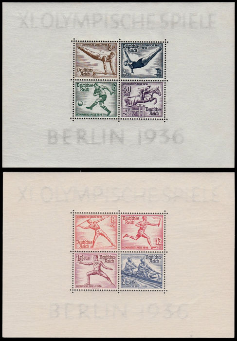 Empire allemand 1936 - Olympic Games Berlin - block issue on thick paper. - Michel Block 5z + 6z