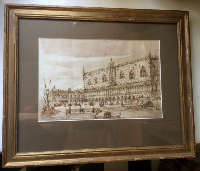 Grand Tour sepia drawing Venice Doge's Palace - Ink on paper - Second half 19th century