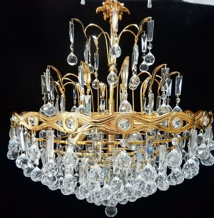 24 kr gold plated chandelier - Neoclassical Style - Crystal