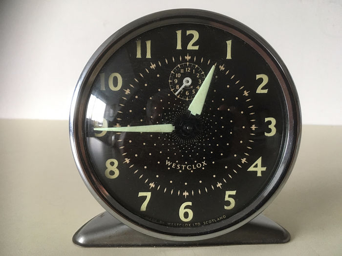 Alarm clock - Westclox LTD Scotland - metal, glass - mid 20th century