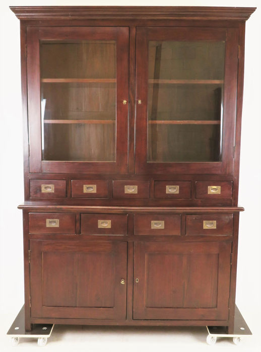 Colonial display cabinet with nine drawers - Wood- Mahogany Curio Bric-à-brac, used for sale