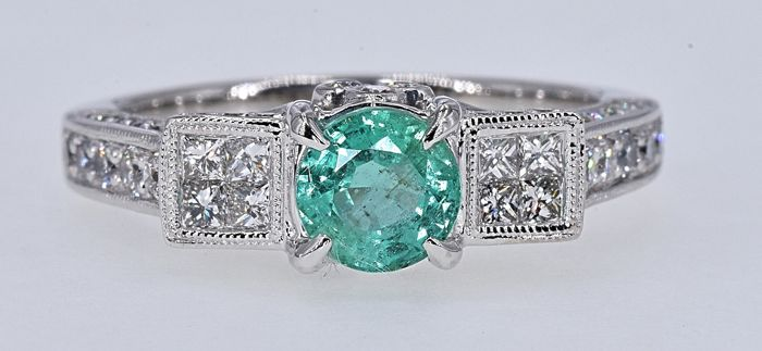 18 kt. White gold - Ring Emerald - Diamonds