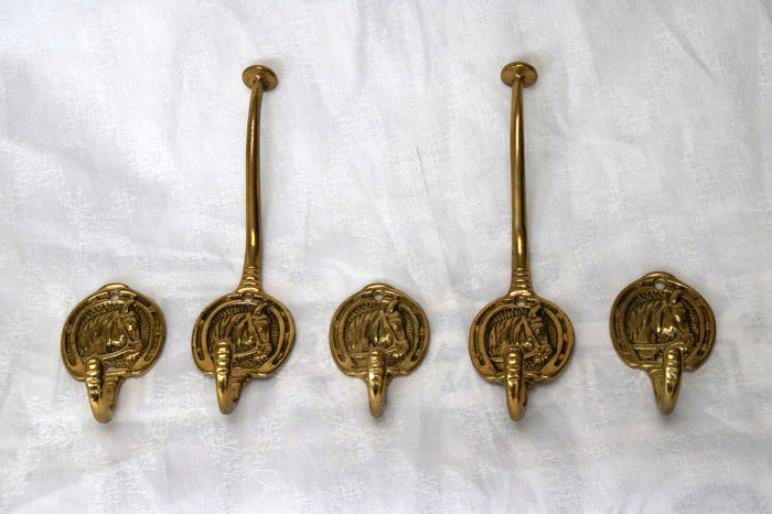 Coat hooks with horse head (5) - Brass