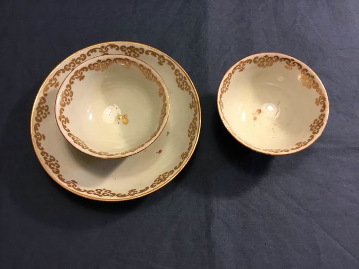 cup set with saucer (3) - Neoclassical Style - Porcelain - Late 18th century