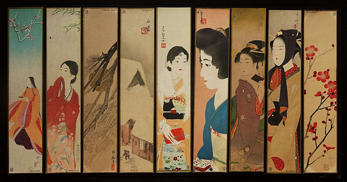 17 Holzschnitte (Offsetdrucke) - Ito Shinsui, Kaburagi Kiyokata, Nakamura Daizaburō and others - Flowers and birds pictures, landscapes, beauties pictures on Tanzaku paper strips - 1933