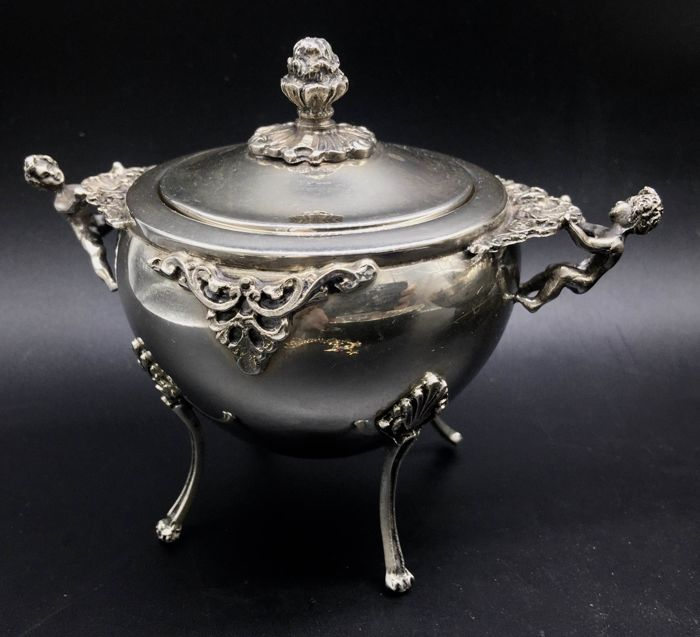 Sugar pot - .800 silver - Italy - mid 20th century