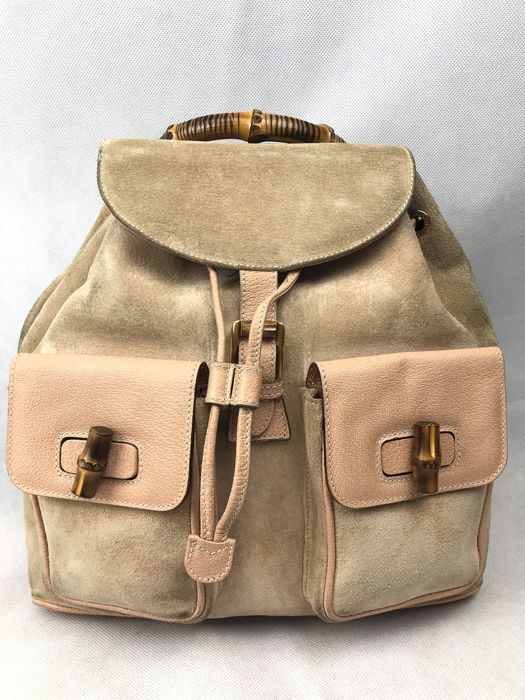 03461fb8fbb Gucci - Leather Bamboo Backpack - Catawiki