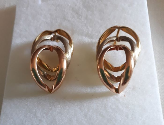 18 kt. Yellow gold, white gold, rose gold - Earrings