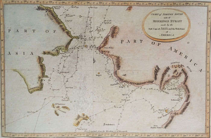 USA, Alaska, Russia, Bering Strait; James Cook / Anderson / Hogg - Chart of Norton Sound and Bhering´s Strait - 1781-1800