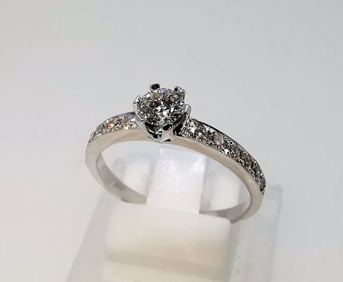18 karaat Witgoud - Ring - 0.35 ct Diamant - Diamanten