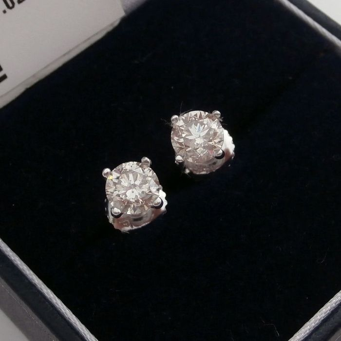 14 kt. White gold - Earrings - Clarity enhanced 1.02 ct Diamond