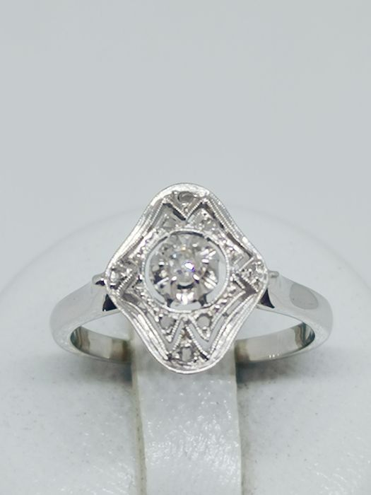 18 karaat Platina, Witgoud - Ring - 0.16 ct Diamant