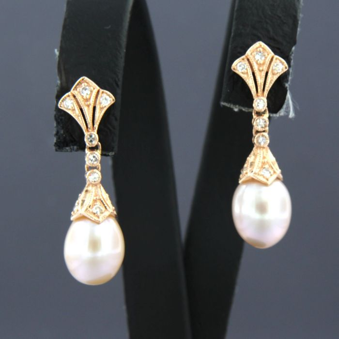 14 kt. Pink gold - Earrings - 0.16 ct Diamond - Pearl