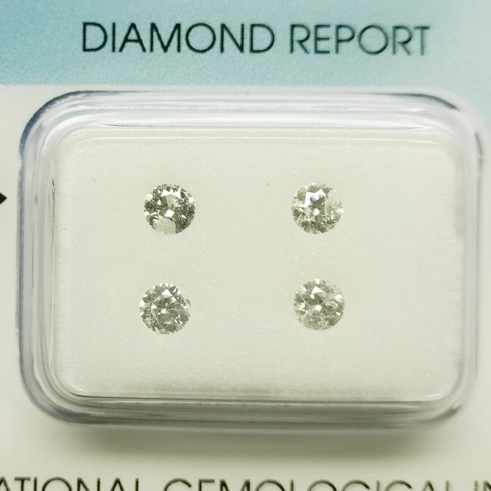4 pcs Diamonds - 0.46 ct - 圆形 - E, F - I1 内含一级