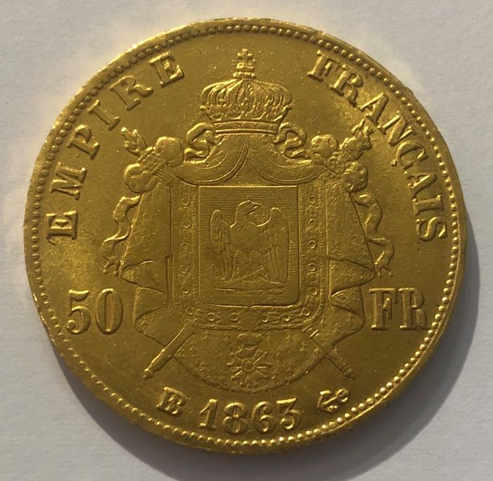 France - 50 Francs 1863 BB - Napoleon III - Gold