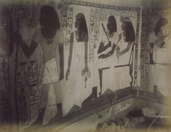 Antonio Beato (1835-1930)  - 2X Egypt, Tombs ca 1870 + photo of the Nile unsigned + wildwater Beato?
