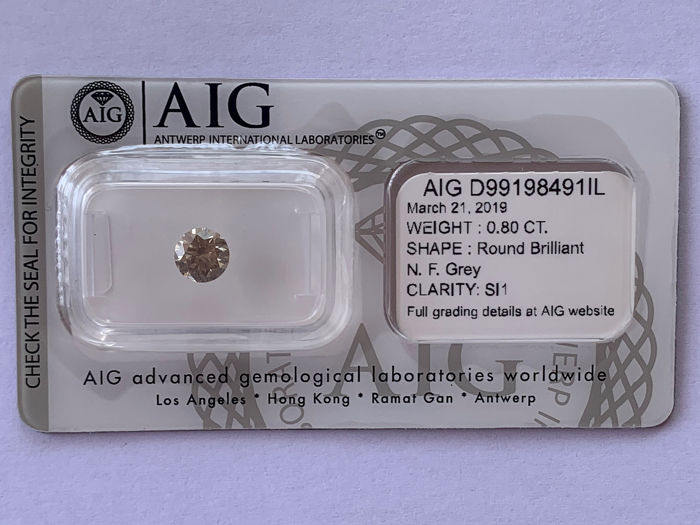 Diamante - 0.80 ct - Brillante - fancy gris - SI1
