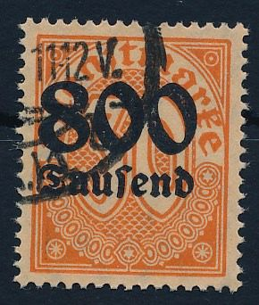 Duitse Rijk 1923 - Official stamp, 800 thsd. on 30 pf with watermark 1 (diamonds) Michel 95 y geprüft Infla Berlin