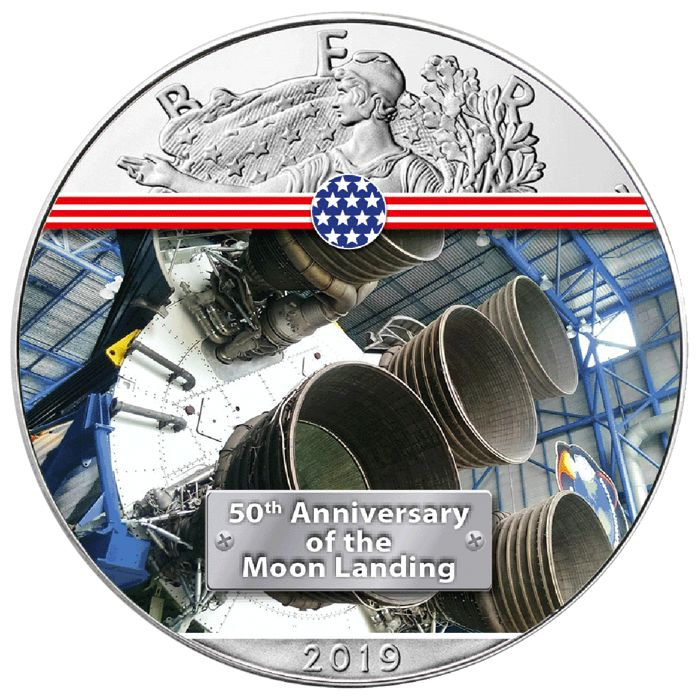 États-Unis. 1 Dollar 2019 - Silver Eagle - Engine Saturn V - 1 oz
