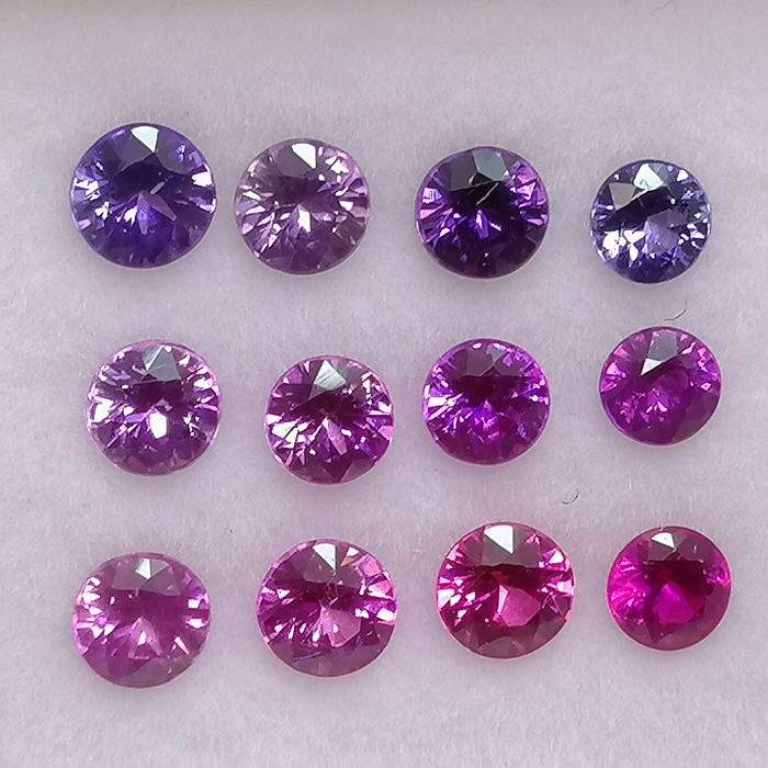12 pcs flerfarget Safir - 2.05 ct