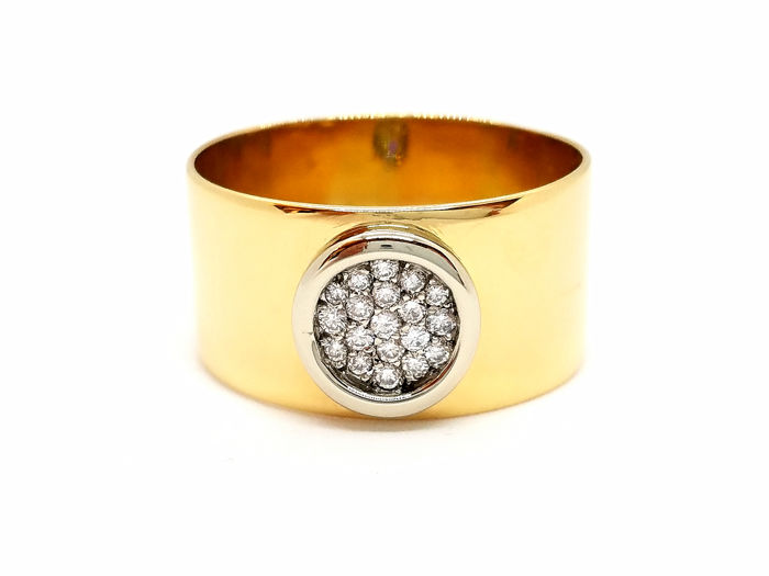 18 quilates Bicolor, Oro amarillo, Oro blanco - Anillo Diamante