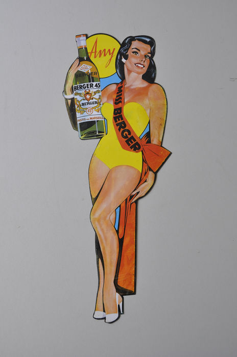 Raymond Ducatez - BERGER 45 PASTIS Pin Up - Sign - Steel
