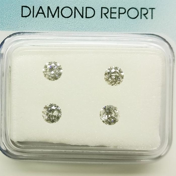 4 pcs Diamantes - 0.49 ct - Redondo - E, G - I1