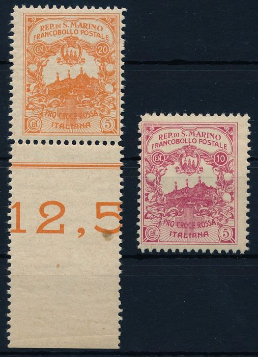 San Marino 1916 - Red Cross, 10 + 5 cents & 20 + 5 cents unverausgabte Marken