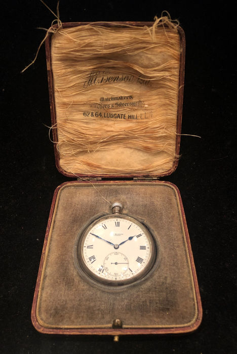 Ancien MASONIC solide zilveren zakhorloge Standard of FREEDOM Lodge 1929 - .925 zilver