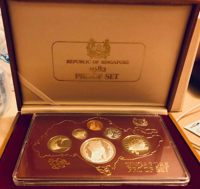 Singapura - 1982 Proof set (6 coins) - $1 in Sterling Silver